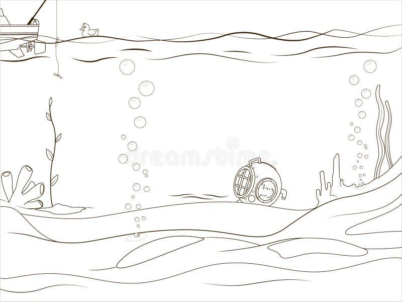 Жизнь воспитательной книжка-раскраски игры подводная иллюстрация вектора