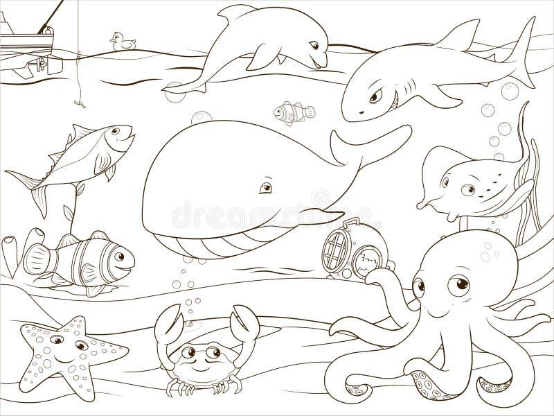 Жизнь воспитательной книжка-раскраски игры подводная иллюстрация штока