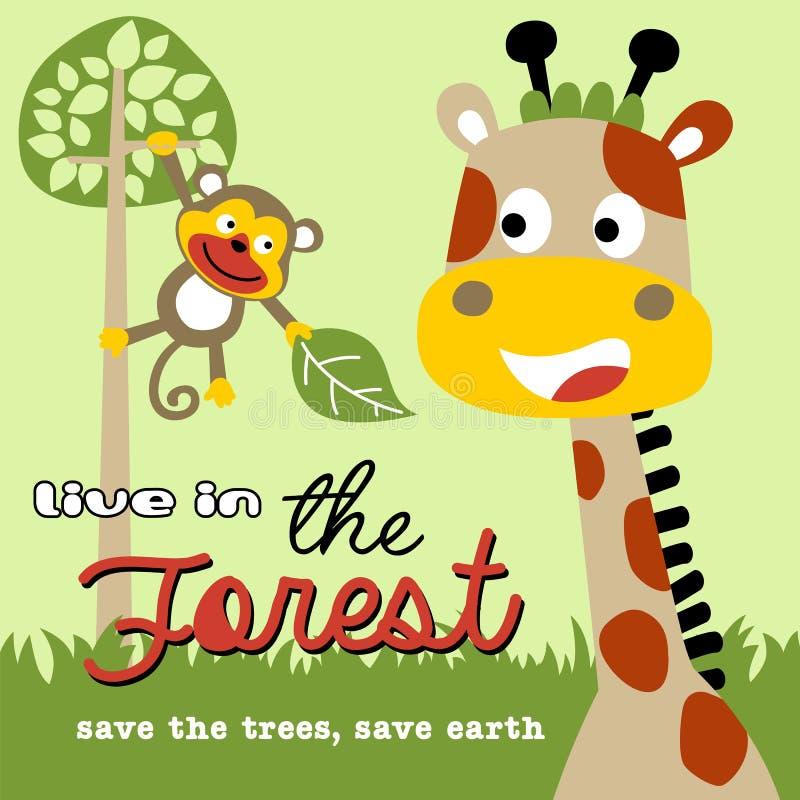 Жизнь в лесе с дружелюбным шаржем животных иллюстрация штока