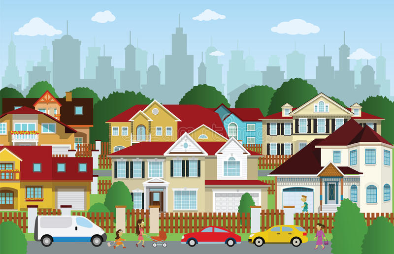 Жизнь в пригородах иллюстрация штока