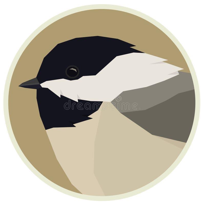 Жизнь леса дикая изолировала рамку Rounde Chickadee животных вектора геометрическую иллюстрация штока