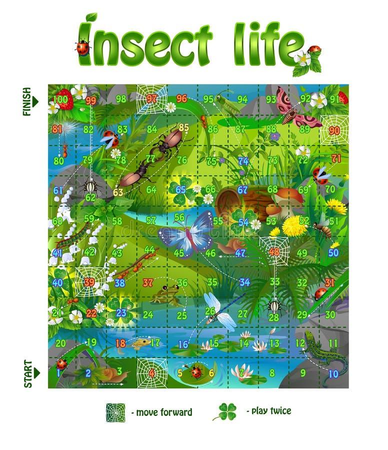 Жизнь 3 насекомого настольной игры иллюстрация вектора