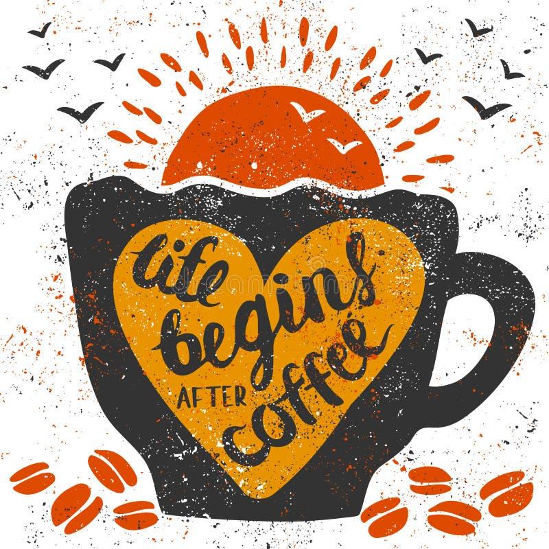 Жизнь начинает после кофе иллюстрация вектора