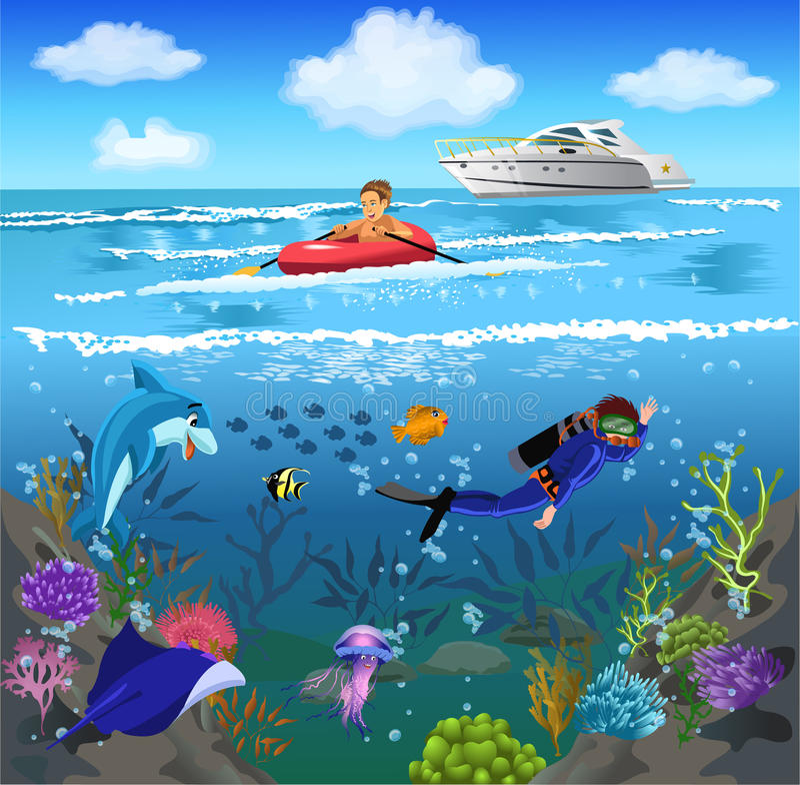 Жизнь океана и подводный мир иллюстрация вектора