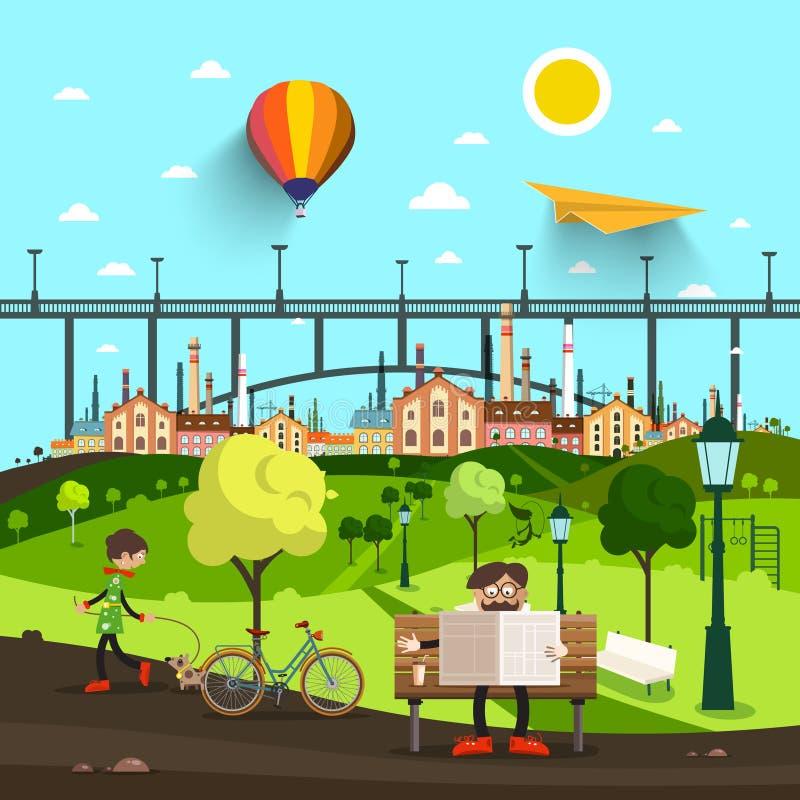 Жизнь парка города с мостом и городком на предпосылке иллюстрация штока