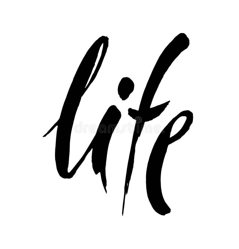 жизнь Современная каллиграфия Почистьте покрашенные письма щеткой, нарисованный вручную шаблон иллюстрации литерности иллюстрация вектора