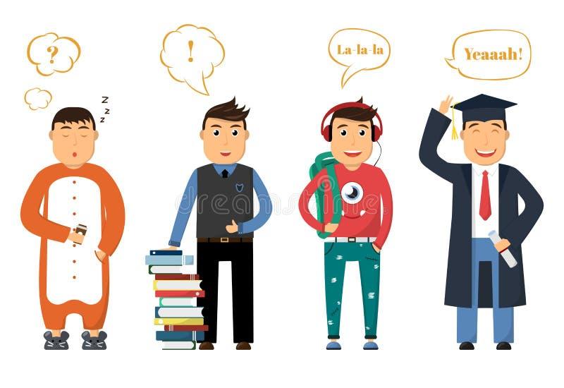 Жизнь студента в коллеже Молодой человек спит в утре, держит кофе, с книгами в дне, на каникулах и праздниках иллюстрация вектора