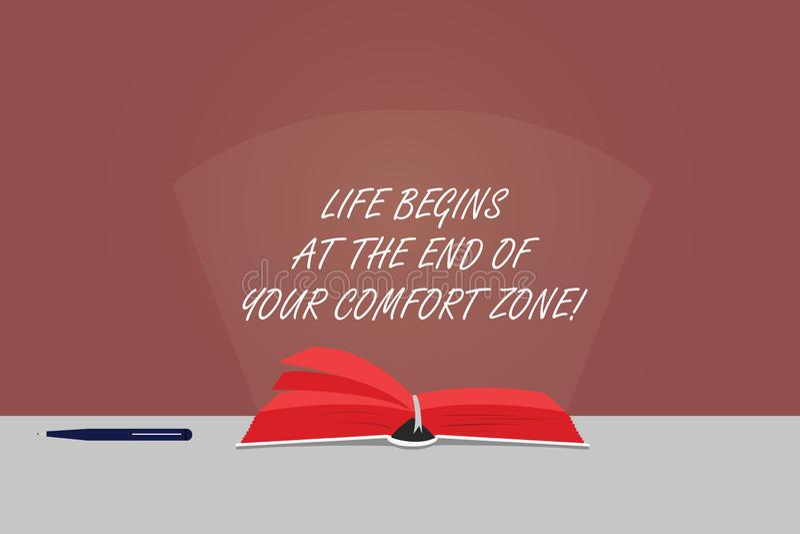 Жизнь текста сочинительства слова начинает в конце вашей зоны комфорта Концепция дела для Make изменений эволюционировать для тог бесплатная иллюстрация