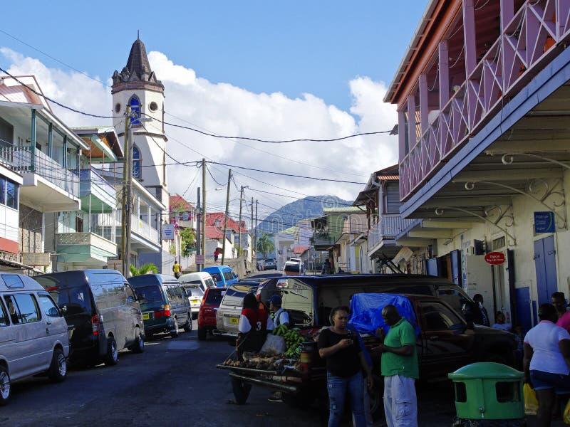 Жизнь улицы города Розо, остров Доминики, стоковые изображения rf