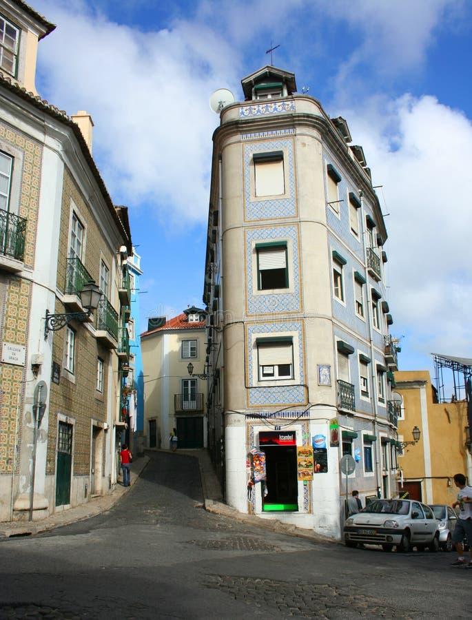 Жизнь улицы Лиссабона, Португалии стоковые фотографии rf