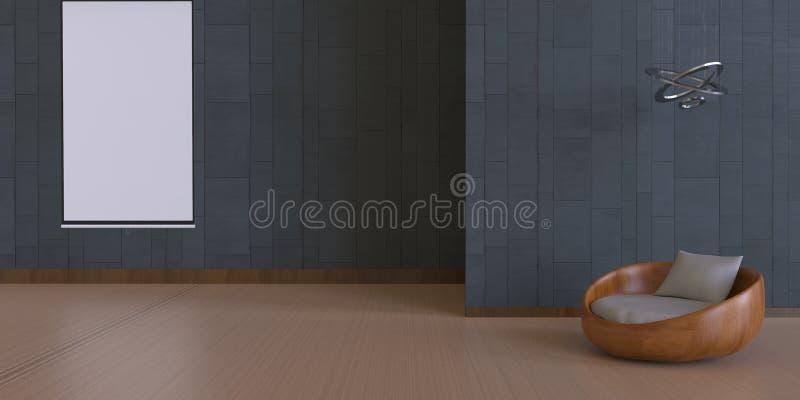 Жилая площадь и космос и искусство релаксации экспонат/простая белая рамка/современная кирпичная стена иллюстрация штока