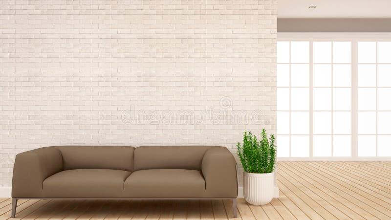Жилая площадь и район залы в квартире или доме - дизайне интерьера для художественного произведения - перевод 3D иллюстрация вектора