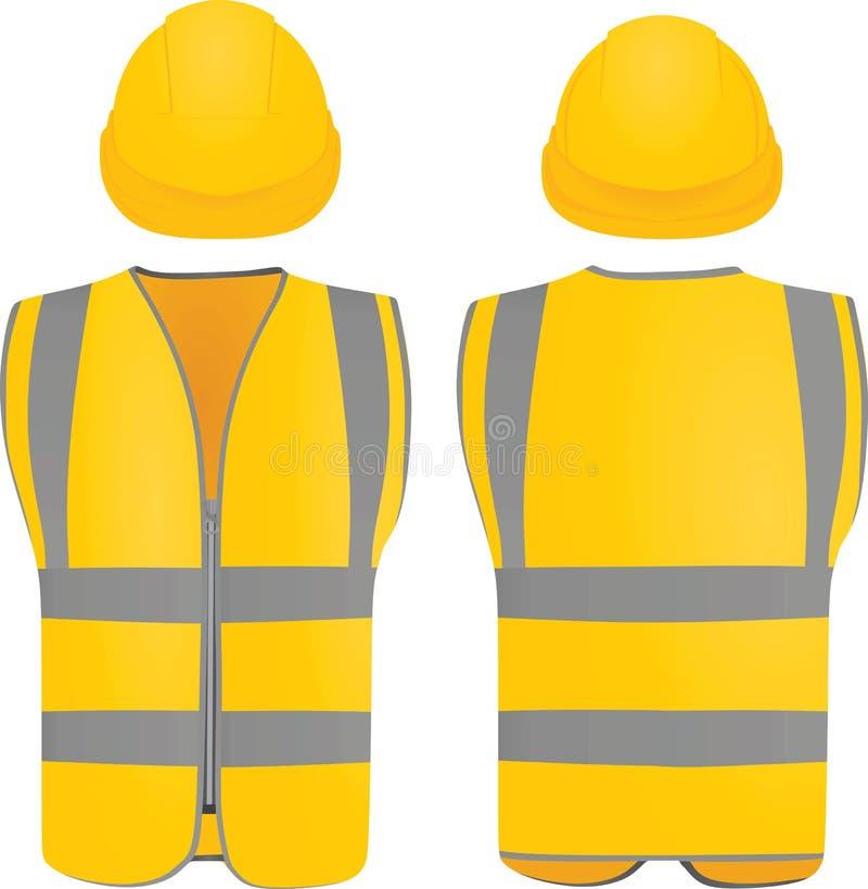 Жилет и шлем безопасности иллюстрация штока