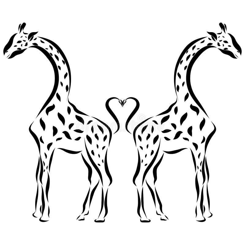 Жирафы в влюбленности, романтичной картине бесплатная иллюстрация