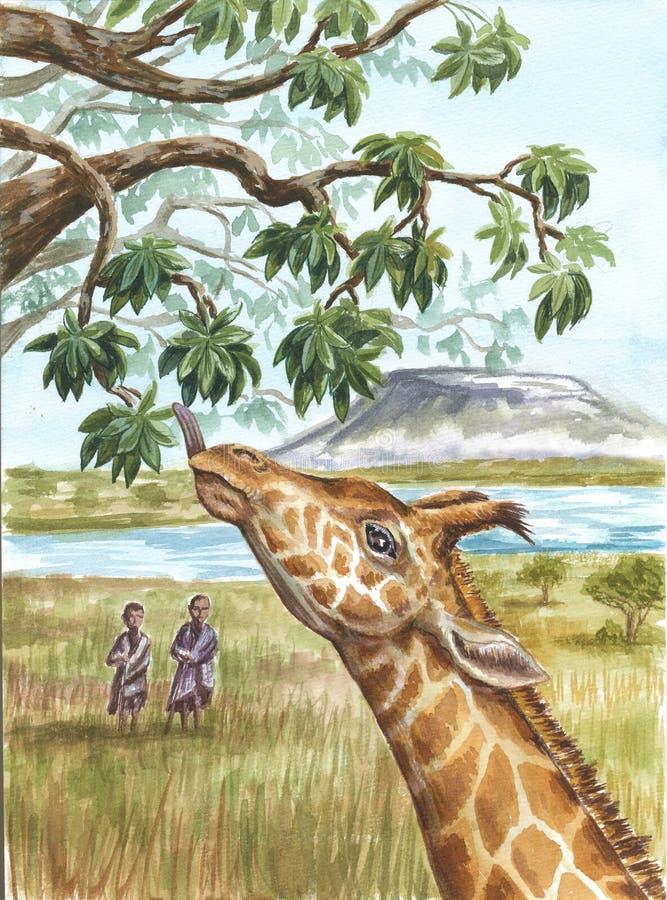 Жираф, аборигены и Kilimangaro стоковое изображение rf