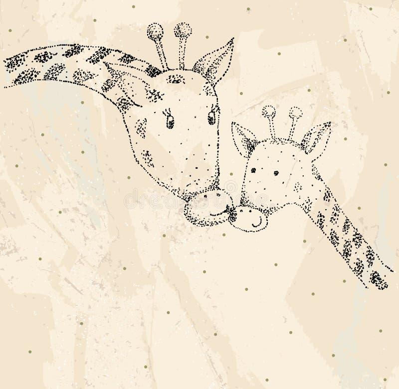 Жираф и мама бесплатная иллюстрация