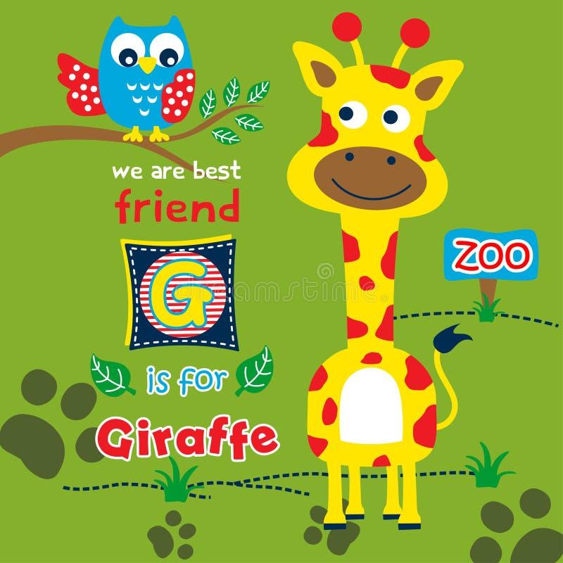 Жираф и сыч в мультфильме зоопарка смешном животном, иллюстрация вектора иллюстрация вектора