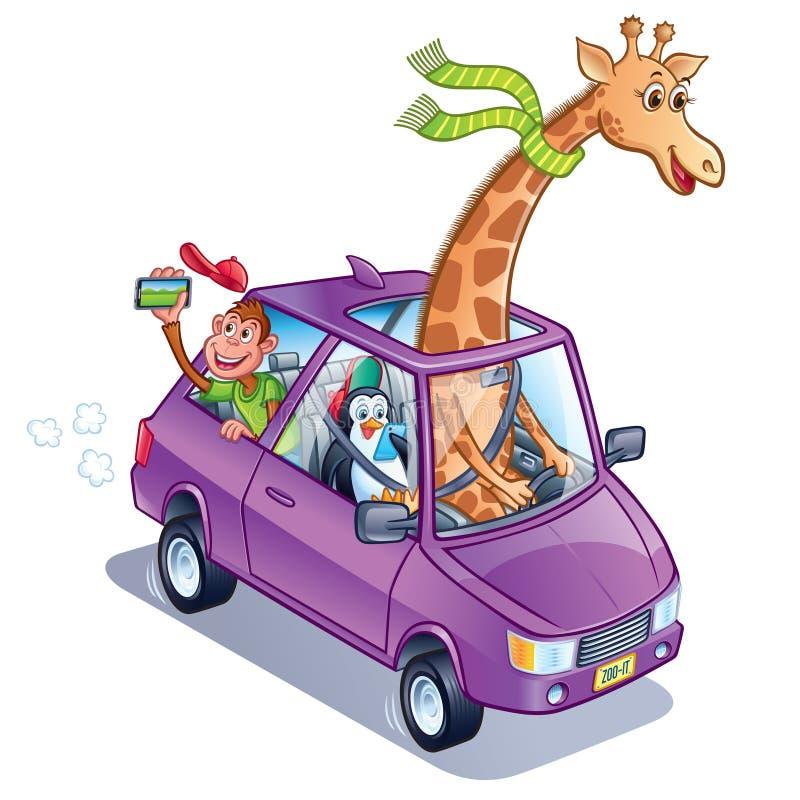 Жираф управляя автомобилем с пингвином и обезьяной бесплатная иллюстрация