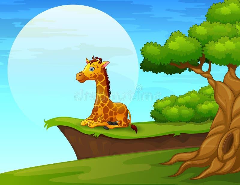 Жираф шаржа сидя около скалы бесплатная иллюстрация
