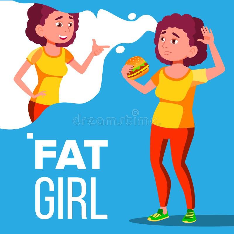 Жирная девушка есть гамбургер и мечтая для того чтобы быть вектором фитнеса изолированная иллюстрация руки кнопки нажимающ женщин бесплатная иллюстрация