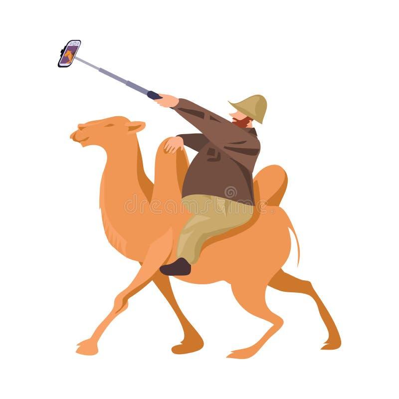 Жирная европейская туристская езда человека на верблюде и сделать selfie бесплатная иллюстрация