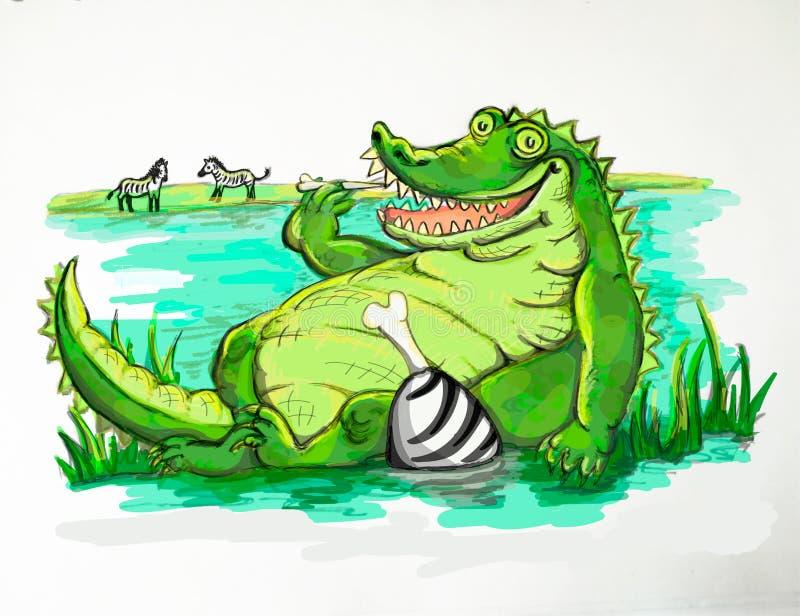 Жирная еда крокодила иллюстрация штока