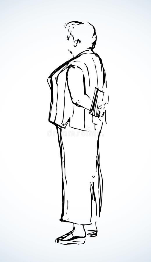 Жирная женщина стоит на белой предпосылке r иллюстрация вектора