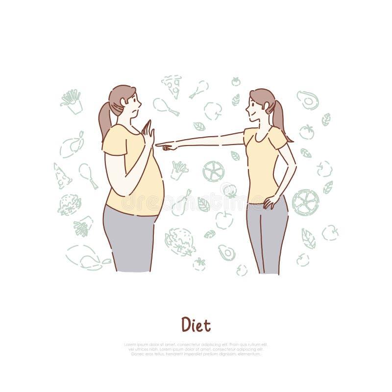 Жирные и тонкие женщины, перед и после, худенькая девушка указывая палец на брюзгливую даму, потерю веса, полезное знамя питания иллюстрация штока