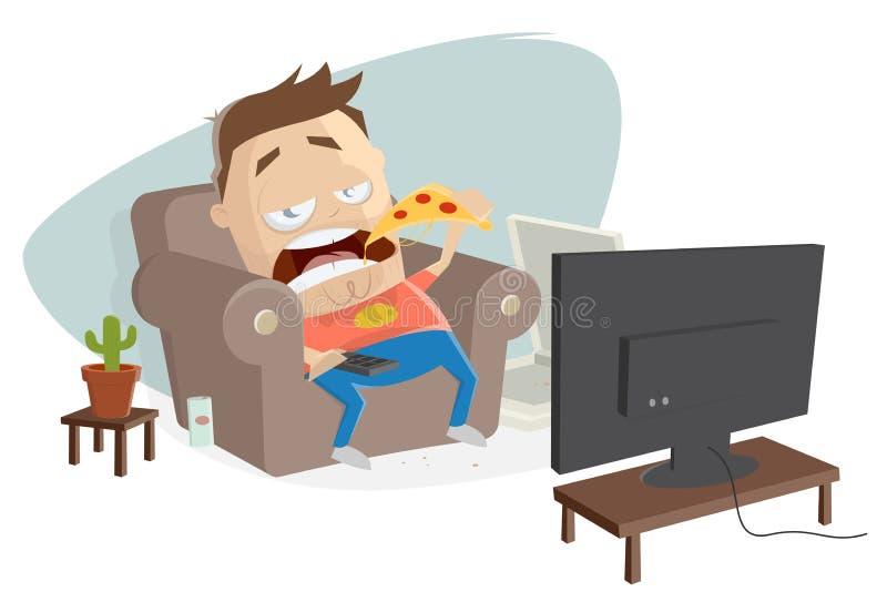 Жирный мультик ест пиццу и смотрит телевизор иллюстрация штока
