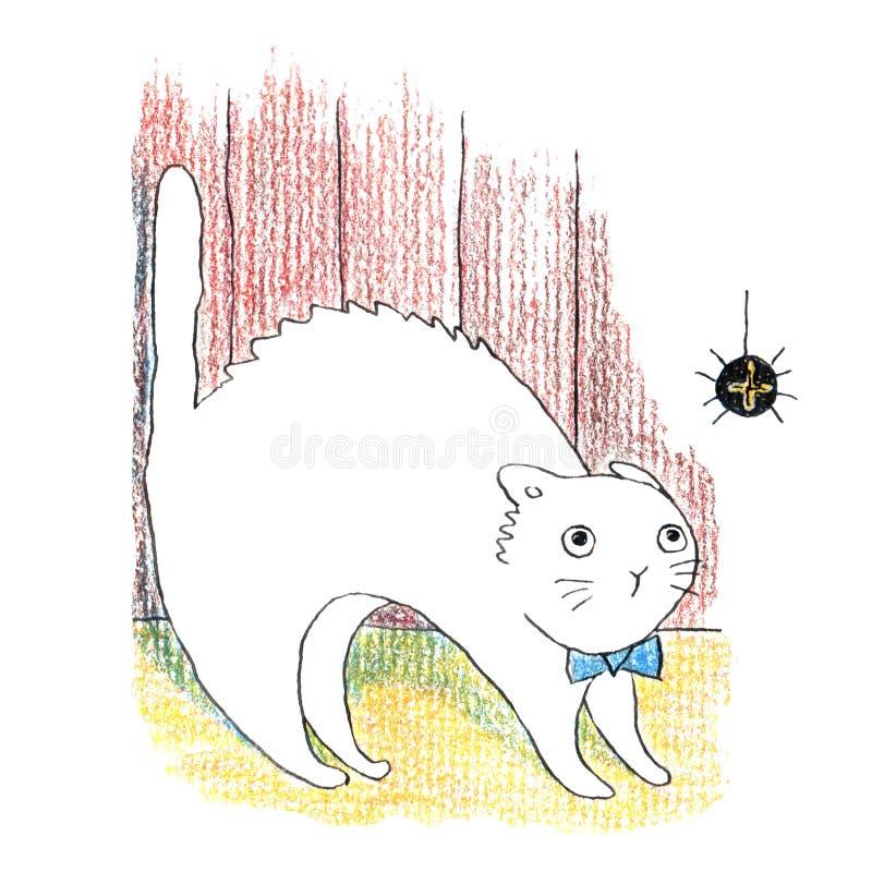 Жирный смешной белый кот видя большой черный паук иллюстрация вектора