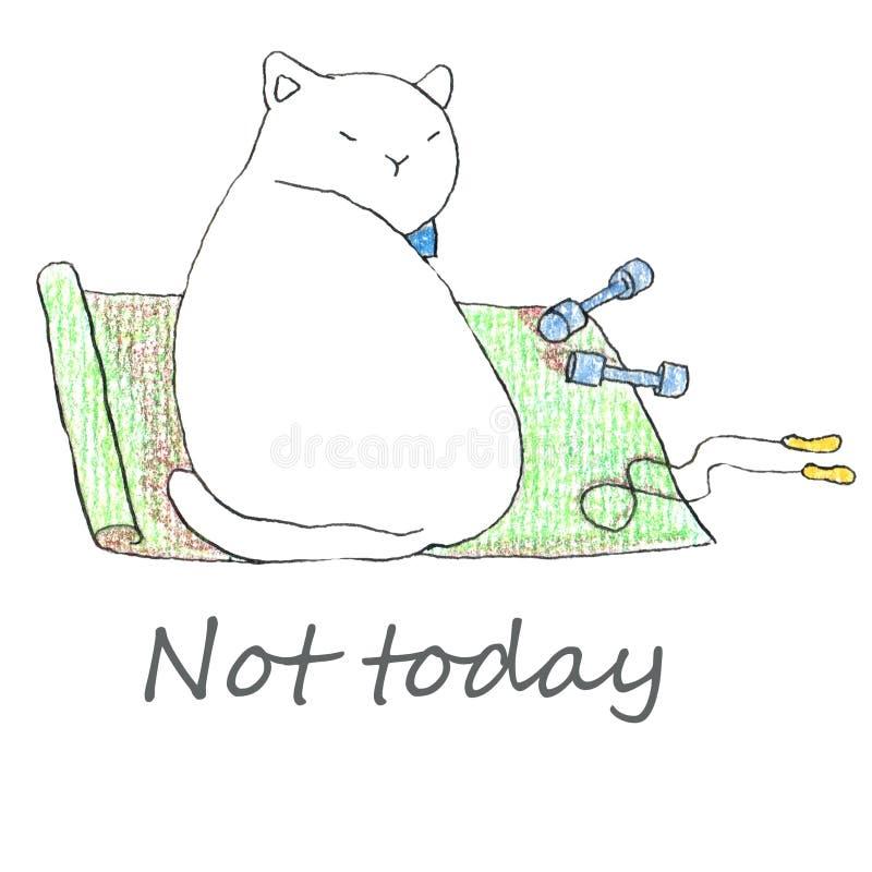 Жирный смешной белый кот сидя с аксессуарами фитнеса иллюстрация штока