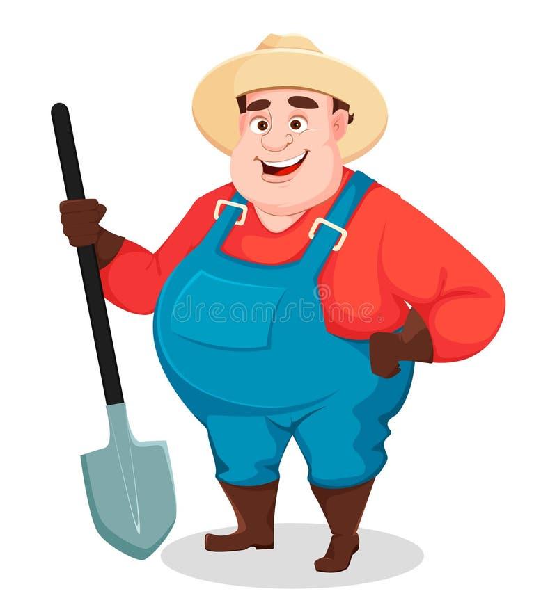 Жирный фермер, садовник agronomist смешной иллюстрация вектора