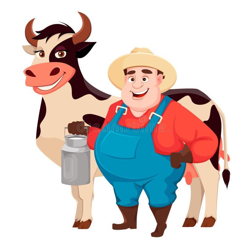 Жирный фермер, садовник agronomist смешной бесплатная иллюстрация