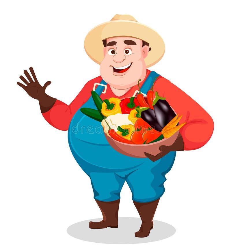 Жирный фермер, садовник agronomist смешной иллюстрация штока