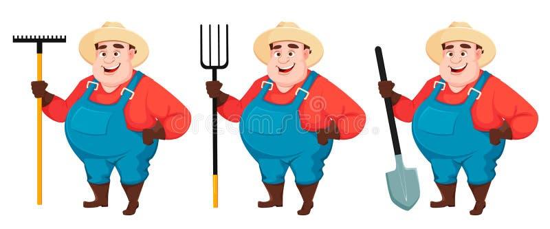 Жирный фермер, agronomist, установил 3 представлений иллюстрация вектора