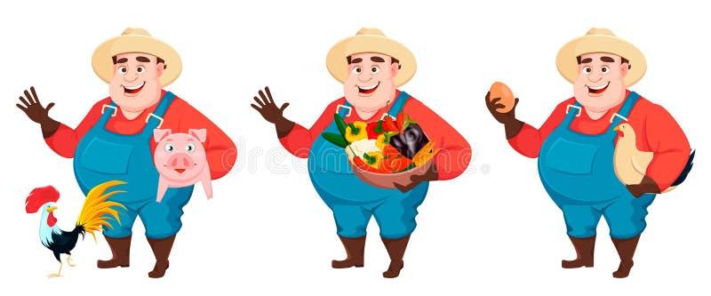 Жирный фермер, agronomist, установил 3 представлений бесплатная иллюстрация