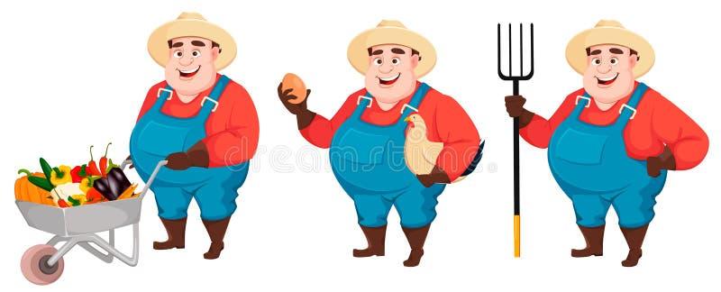 Жирный фермер, agronomist, установил 3 представлений иллюстрация штока
