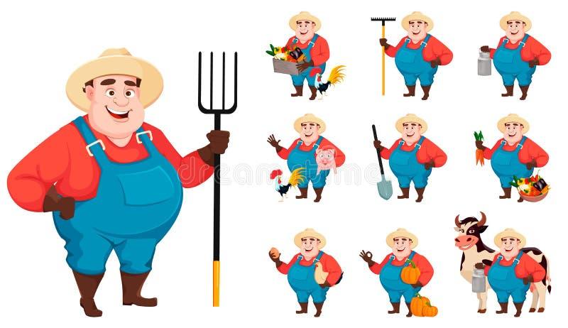 Жирный фермер, agronomist, установил 10 представлений иллюстрация вектора