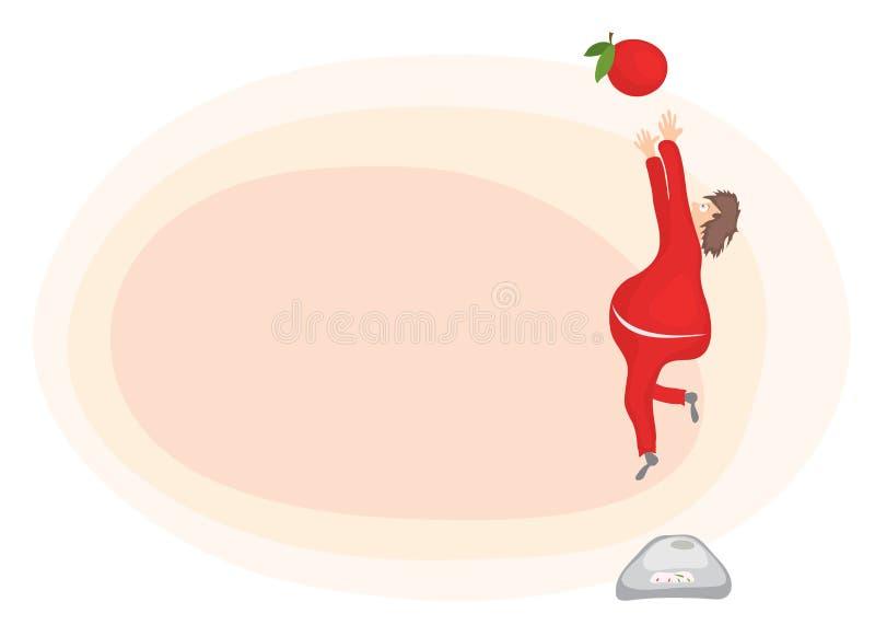 Жирный человек с избыточным весом, попробовал достигнуть яблоко/скачку для встречи здоровой еды бесплатная иллюстрация