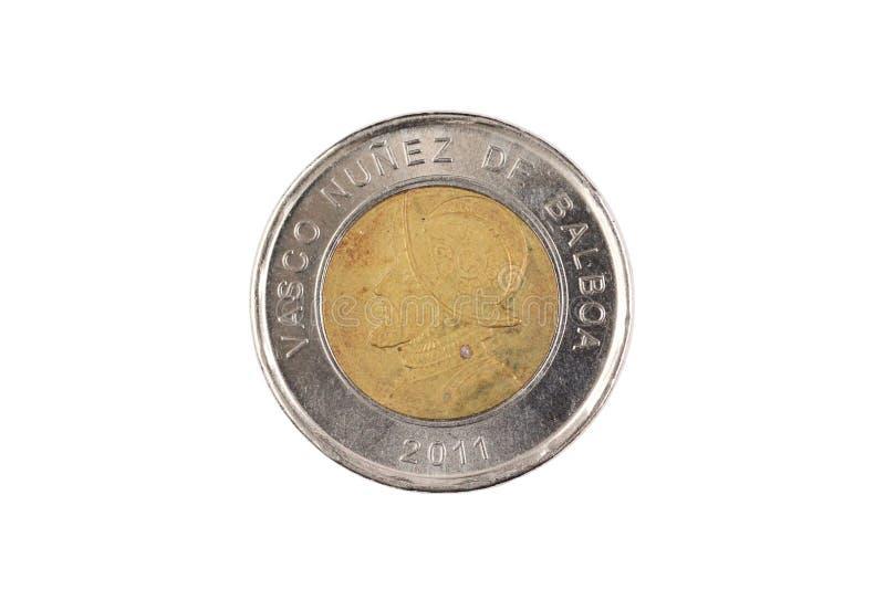 Житель Панамы одна монетка бальбоа изолированная на белизне стоковые фотографии rf