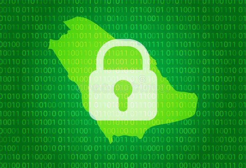 житель Саудовской Аравии карты Аравии иллюстрация с предпосылкой замка и бинарного кода интернет преграждая, нападение вируса, уе иллюстрация вектора
