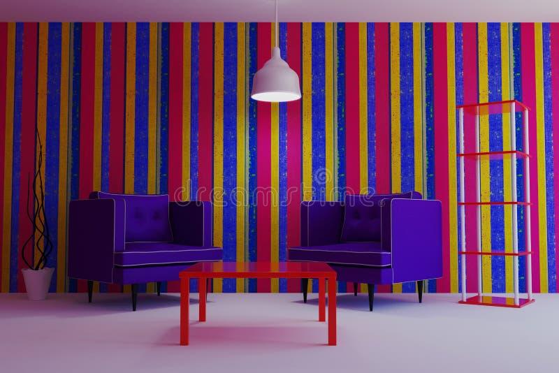 Жить в современном стиле с фиолетовыми креслами стоковое изображение rf