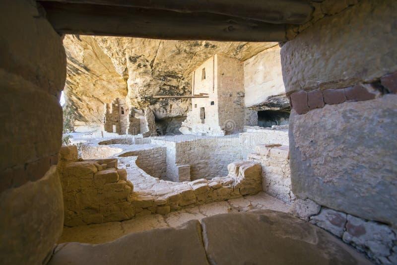 Жилище скалы дома балкона, национальный парк мезы Verde стоковые изображения rf