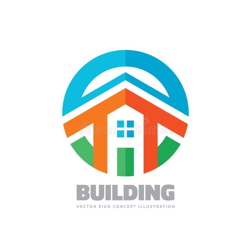 Жилищное строительство - иллюстрация концепции логотипа вектора в плоском стиле для представления, буклета, вебсайта и других тво бесплатная иллюстрация