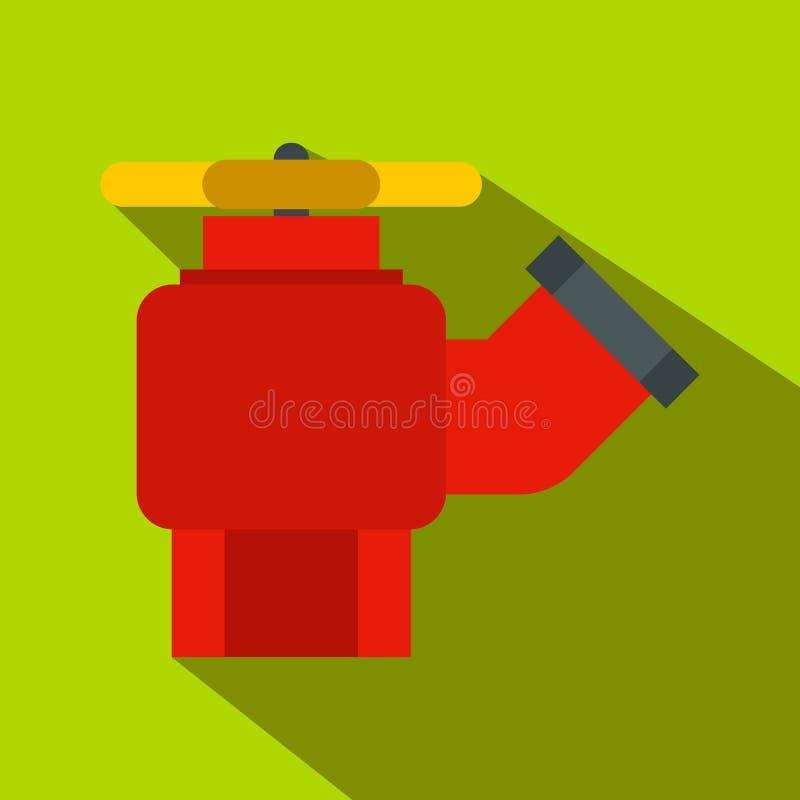Жидкостный огнетушитель с значком клапана плоским иллюстрация вектора
