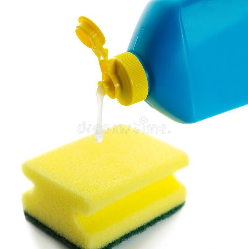 Download Жидкость и губка Dishwashing Стоковое Фото - изображение насчитывающей жидкость, домоец: 37925442