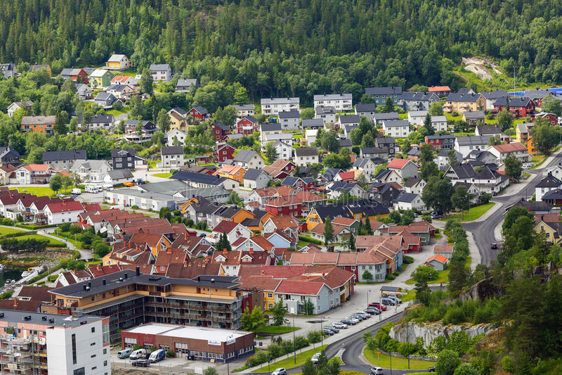Жилой район в Namsos, Норвегии стоковая фотография rf