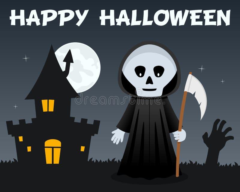 Жнец хеллоуина мрачный и преследовать дом иллюстрация штока