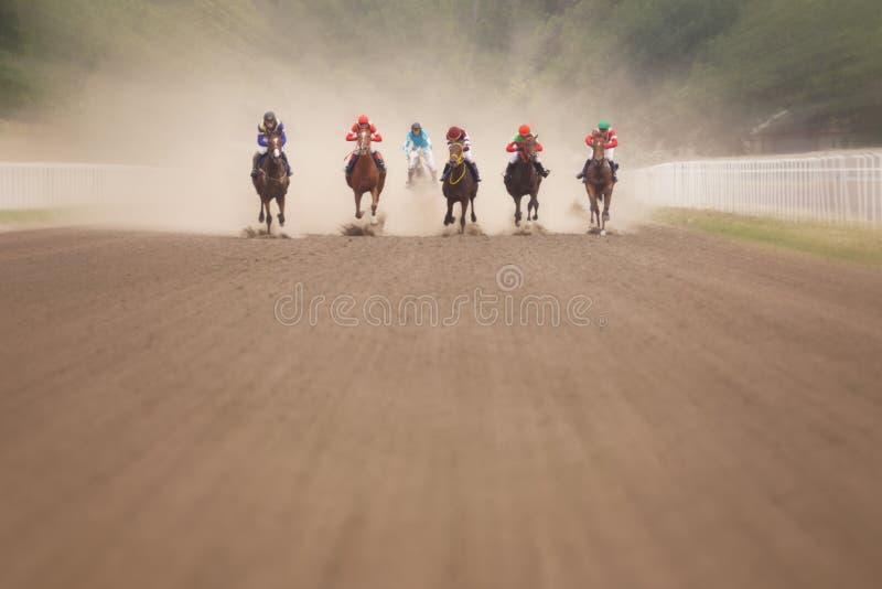 Жокеи во время скачек на его лошадях стоковое фото rf