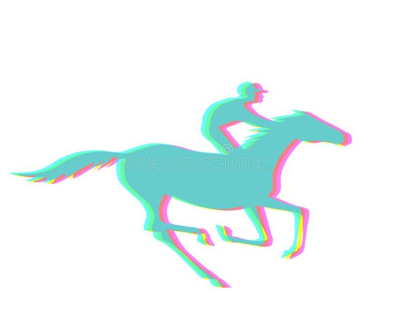 Жокей и лошадь иллюстрация вектора